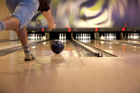 Crewe, Virginia play bowling strike